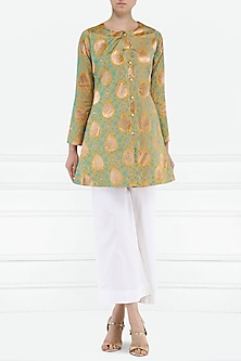 Mustard Brocade Jacket by PABLE