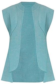 Turquoise Sleeveless Jacket by PABLE