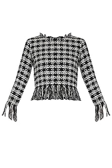 Black and White Fringe Top by PABLE