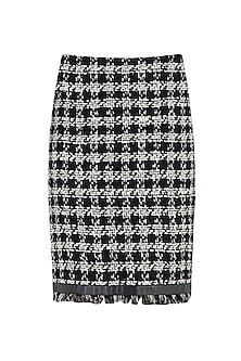 Black and White Fringe Skirt by PABLE