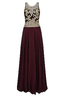 Plum and Gold Embroidered Evening Gown by Priya Chhabria