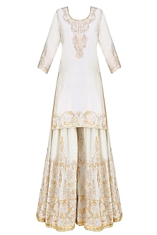 Ivory and Gold Gota Patti Embroidered Kurta and Sharara Pants Set