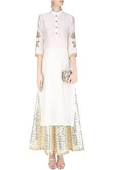 Ivory Lotus Embroidered Kurta and Gota Patti Work Skirt Set by Priya Chhabria