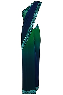 Emerald Green, Navy and Teal Blue Sequins Embellished Shaded Saree with Blouse Piece by Priya Chhabria