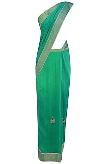 Teal Blue Kundan Studded Motifs and Peacock Woven Saree