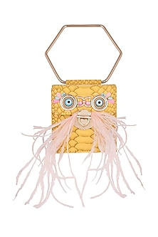 Yellow Embroidered Minaudiere Bag by Papa Don't Preach by Shubhika