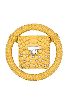 Yellow Embroidered Circular Minaudiere Bag by Papa Don't Preach by Shubhika