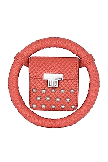 Orange Embroidered Circular Minaudiere Bag by Papa Don't Preach by Shubhika