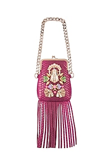 Pink Embroidered Fringe Bag by Papa Don't Preach by Shubhika
