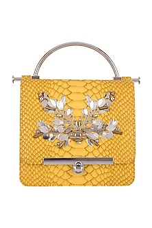 Yellow Embroidered Handbag by Papa Don't Preach by Shubhika