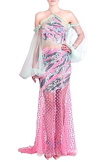 Multi Colored Embellished Ruffled Gown by Papa Don't Preach by Shubhika