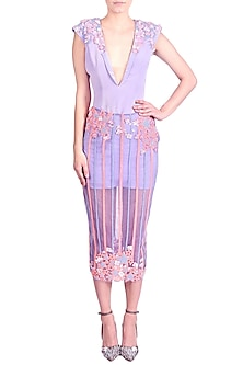 Lilac Embroidered Dress With Bodycon Sheer Skirt by Papa Don't Preach by Shubhika