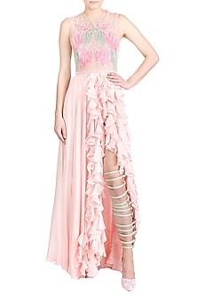 Pink Embellished Ruffled Gown by Papa Don't Preach by Shubhika