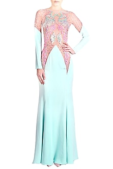 Mint Blue Embellished Cut-Out Mermaid Gown by Papa Don't Preach by Shubhika