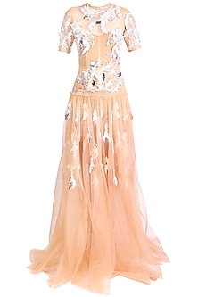 Orange Embellished Gown by Papa Don't Preach by Shubhika