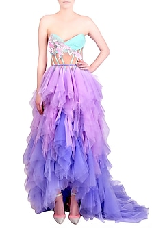 Lilac Purple Ruffled Trail Skirt With Embroidered Top by Papa Don't Preach by Shubhika
