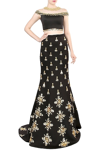 Black Embroidered Mermaid Skirt With Off Shoulder Crop Top by Papa Don't Preach by Shubhika
