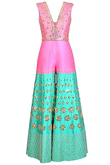 Hot Pink & Mint Green Embroidered Jumpsuit With Belt by Papa Don't Preach by Shubhika