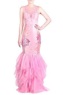 Millennial Pink Embroidered & Ruffled Mermaid Gown With Inner by Papa Don't Preach by Shubhika