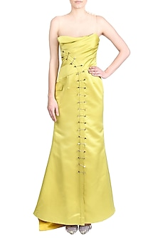 Yellow Embroidered Bodycon Dress by Papa Don't Preach by Shubhika