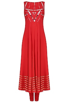Red Mirror Work Embellished Sleeveless Anarkali Set