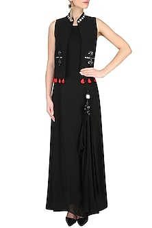 Black Draped Dress With Mirror Work Embellished Jacket by Preeti Reddy