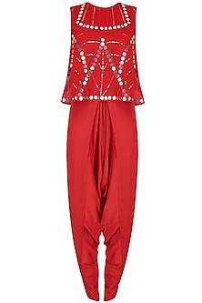 Red Mirror Work Embellished Top With Draped Dhoti Pants
