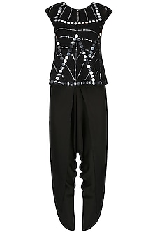 Black Mirror Work Embellished Top With Draped Dhoti Pants