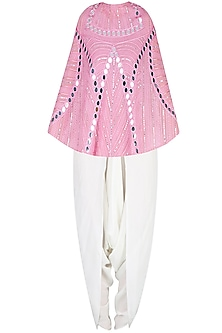 Onion Pink Mirror Work Cape With Off White Dhoti Pants