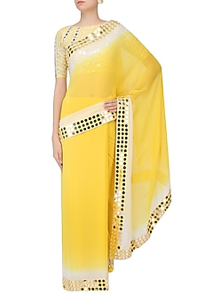 Lemon Yellow And Off White Ombre Shaded Saree With Mirror Work Blouse by Preeti Reddy
