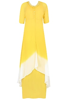 Off White And Yellow Ombre Shaded Mirror Work Kurta With Inner And Scarf