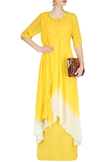 Off White And Yellow Ombre Shaded Mirror Work Kurta With Inner And Scarf by Preeti Reddy