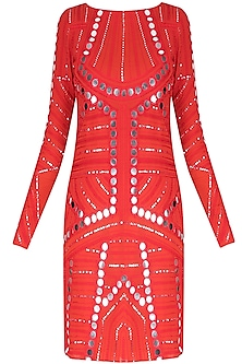 Red Ornate Mirror Work Full Sleeves Dress