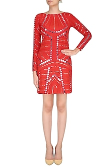 Red Ornate Mirror Work Full Sleeves Dress by Preeti Reddy