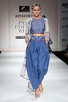 Indigo Block Printed Dhoti Pants with Crop Top and White Asymmetrical Cape