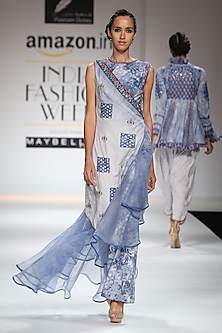 Indigo and White Block Printed Maxi Dress by Poonam Dubey Designs