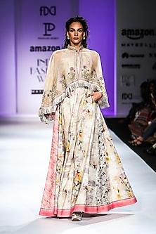 Beige Floral Print Maxi Dress by Poonam Dubey Designs