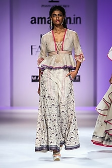 Beige Digital Print Peplum Top with Palazzo Pants and Belt by Poonam Dubey Designs