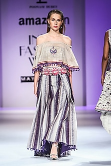 Beige and Purple Off Shoulder Embroidered Top with Striped Skirt by Poonam Dubey Designs