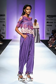 Purple Cold Shoulder Embroidered Top with Dhoti Pants