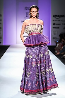 Purple and Beige Off Shoulder Top with Embroidered Pleated Skirt and Belt
