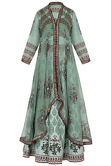Green Block Printed Jacket with Skirt by Poonam Dubey Designs