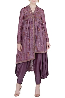 Wine Block Printed Tunic with Dhoti Pants by Poonam Dubey Designs