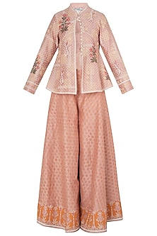 Peach Peplum Jacket with Sharara Pants by Poonam Dubey Designs