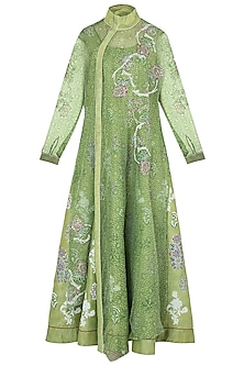 Green Block Printed Anarkali with Jacket by Poonam Dubey Designs