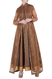 Brown and Beige Anarkali Gown with Jacket by Poonam Dubey Designs
