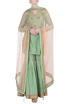 Green Embellished Kurta Set by Poonam Dubey Designs