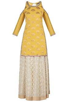 Yellow Cold Shoulder Kurta Set by Poonam Dubey Designs