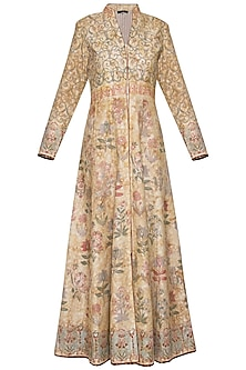 Beige printed front open anarkali gown