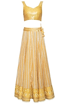 Yellow banarasi lehenga skirt with blouse and cape